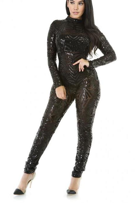 Shinning Sequins High Neck Long Skinny Jumpsuits