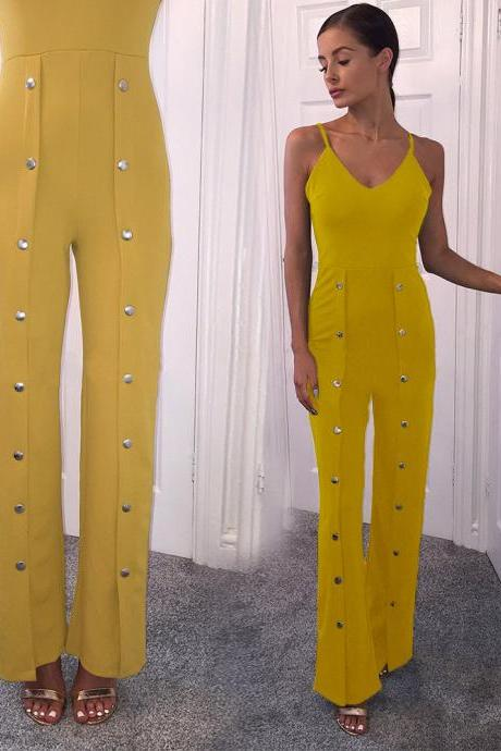 Rivets Loose Spaghetti Straps Split Long Wide Leg Jumpsuits