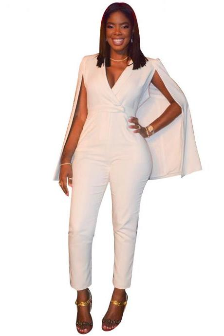 Cape V-neck High Waist Long Skinny White Jumpsuits