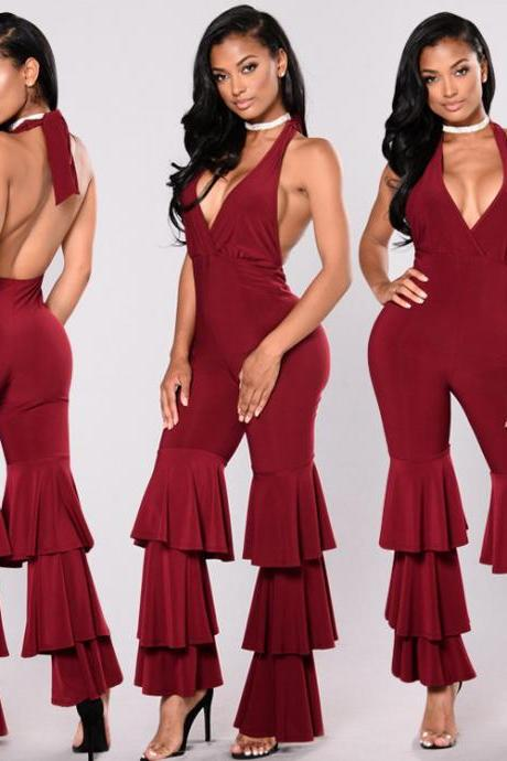 Backless Halter V-neck High Waist Long Wide-leg Jumpsuits