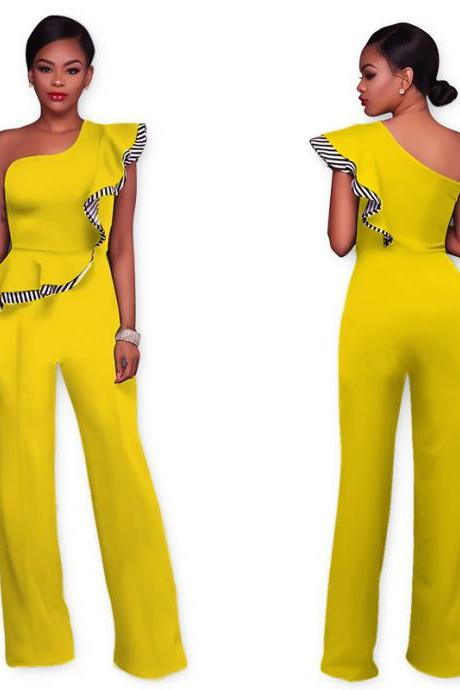 One Shoulder High Waist Pure Color Falbala Long Wide Leg Jumpsuits