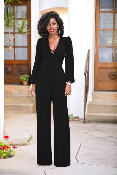 Long Lantern Sleeves Straps Hollow Out Long Wide-leg Jumpsuits