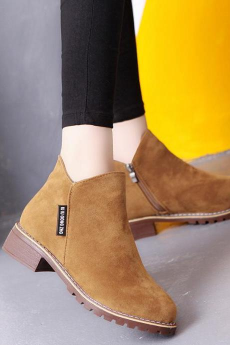 Pure Color Suede Chunky Heel Round Toe Ankle Boots