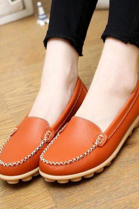 Candy Color Leather Pure Color Soft Sole Casual Flats