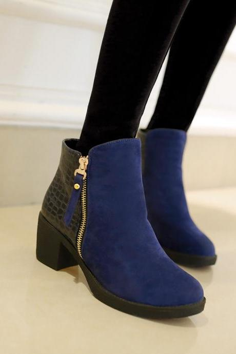 PU Chunky Heel Patchwork Round Toe Ankle Boots
