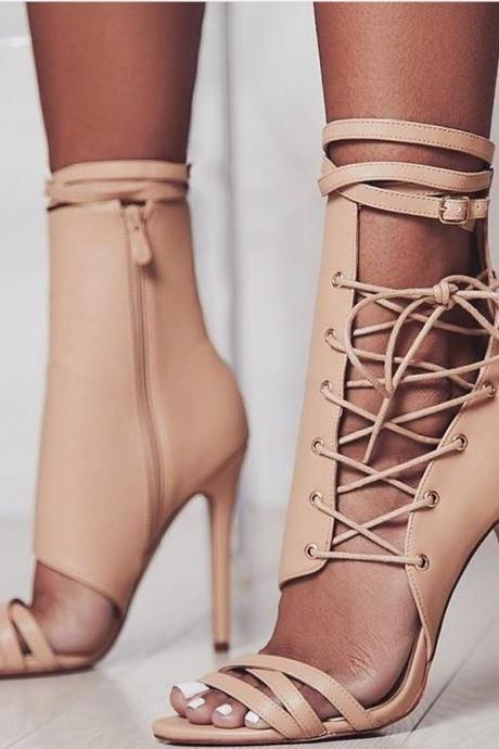 Straps Side Zipper PU Open-toe Stiletto High Heels Sandals