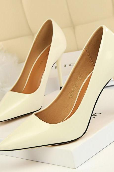 PU Stiletto Heel Pointed Toe High Heels OL Office Shoes