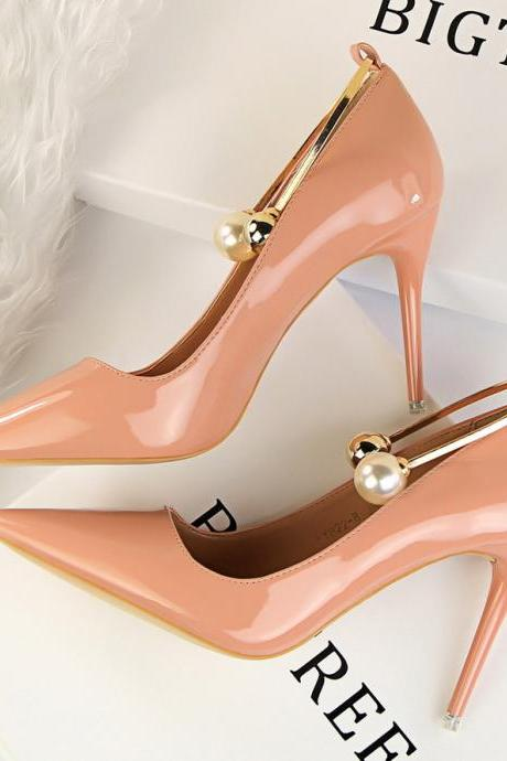 Patent Leather Pointed-Toe High Heel Stilettos Featuring Pearl Embellished Metal Ankle Strap