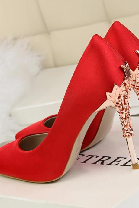 Silk Patchwork Stiletto Heel Pointed Toe High Heels Dress Prom Party Shoes