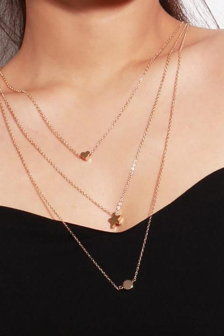 Multi-layer Star Heart Collarbone Necklace