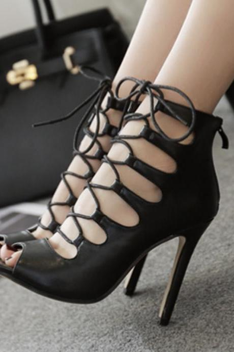 Faux Leather Peep-Toe Lace-Up High Heel Stilettos