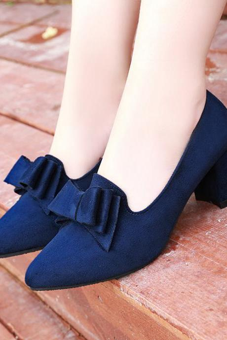 Faux Suede Bow Accent Pointed-Toe Chunky Heels