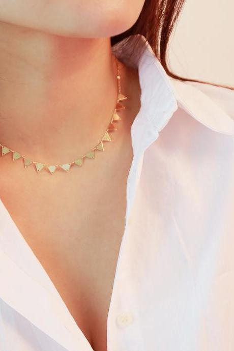 Copper Triangulation Goes Well With Clavicular Necklace