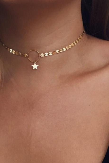 Handmade Small Circle Star Rod Choker Necklace