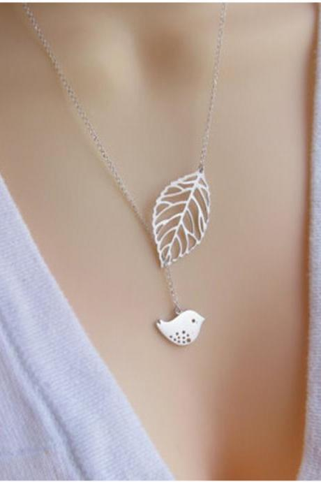 Rural Clear Style Leaf Bird Clavicle Necklace