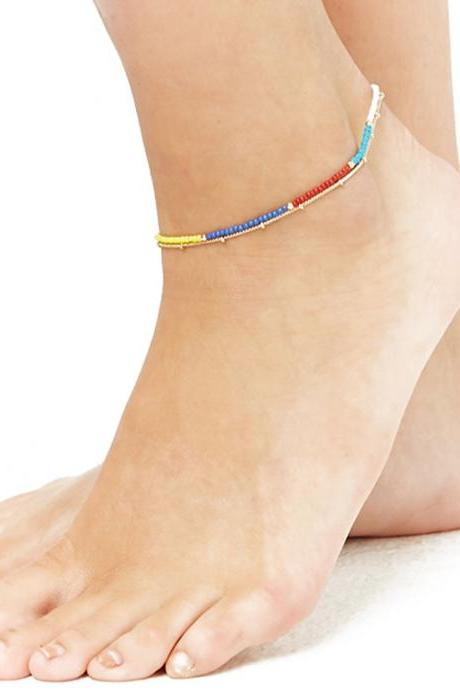 Manual Layer Color Beads Anklets