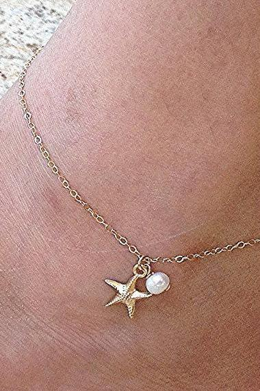 Starfish Pearl Gold Plated Simple Anklets