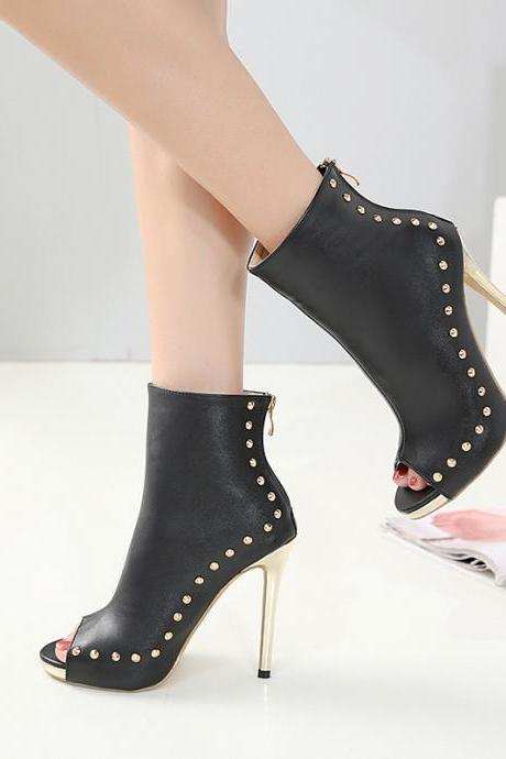 Rivets Stiletto Heel Peep-toe Zipper High Heel Ankle Boot Sandals