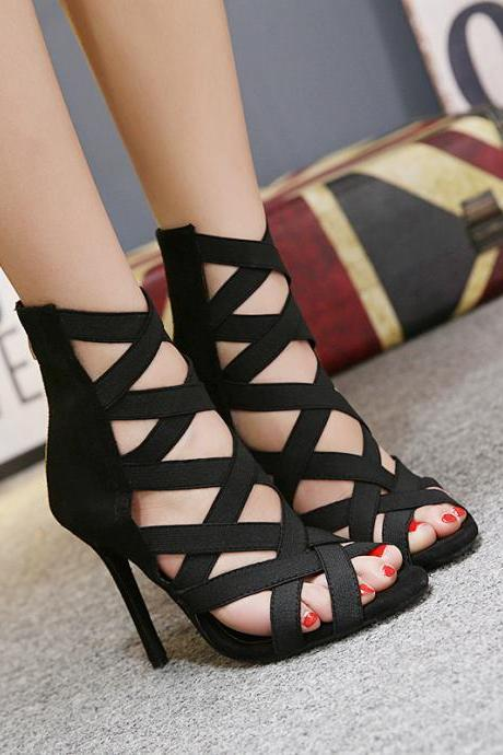 Suede Stiletto Heel Straps Peep-toe Zipper High Heels Sandals