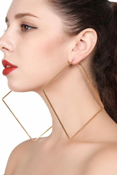 Hollow Simple Diamond Shaped Geometric Earrings