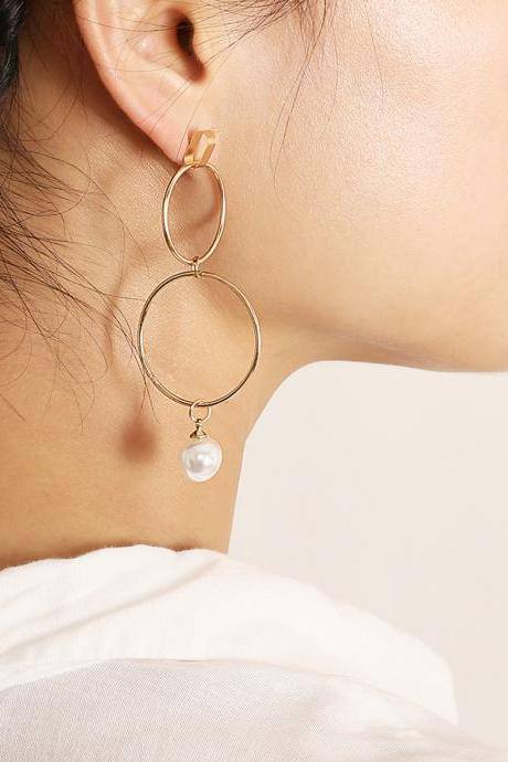 Geometric Asymmetrical Copper Loop Pearl Pendant Earrings