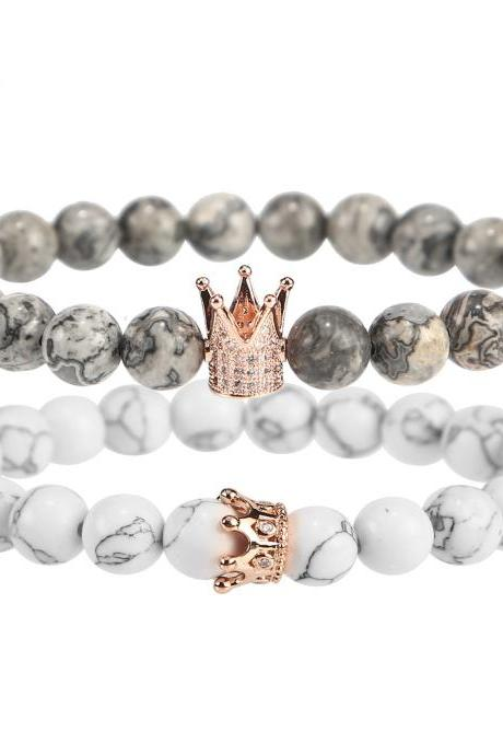 Matte Black Frosted Natural White Turpentine Crown Bracelet