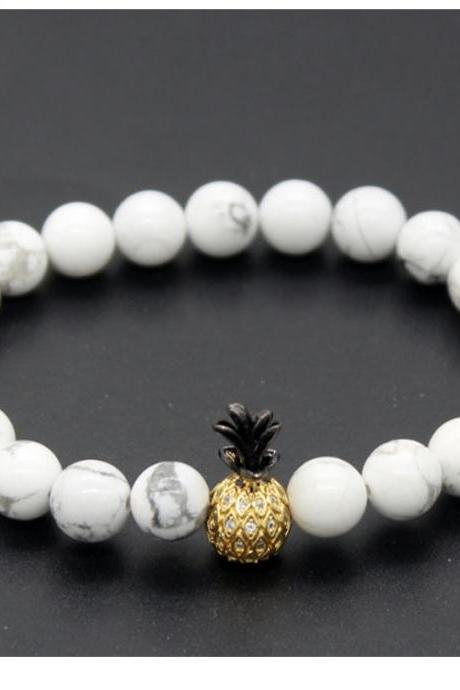 Summer Pineapple Microinlaid With Zircon Lovers Bracelet