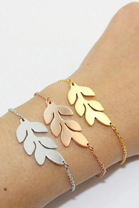 Brand New Stainless Steel Leaf Bracelet