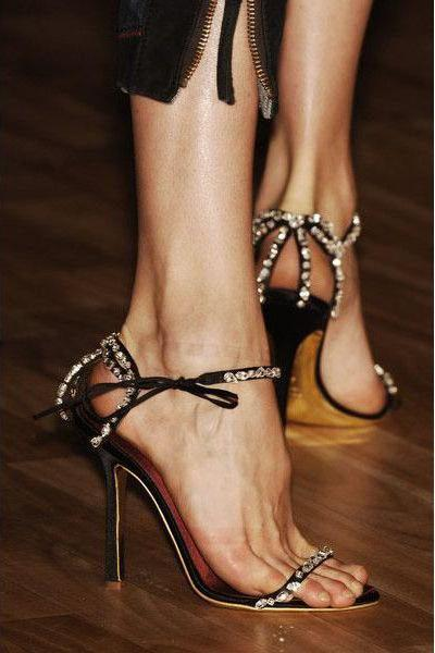 Diamond Lace Up Simple Open Toe Stiletto High Heel Black Sandals