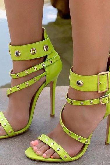 Rivets Straps Stiletto Heel Open-toe Ankle Strap High Heel Sandals
