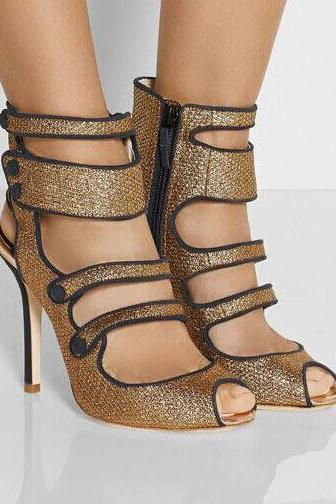 Shinning Straps Peep Toe Stiletto High Heel Ankle Straps Sandals