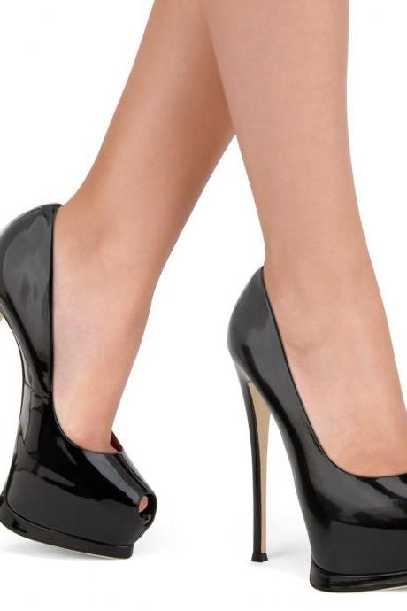 Patent Leather Peep Toe Platform High Heel Stilettos