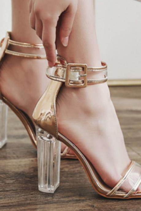 Transparent High Chunky Heel Open Toe Simple Ankle Wrap Sandals