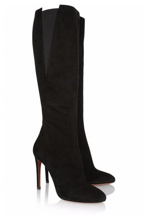 Patchwork Round Toe Stiletto High Heel Knee Length Long Boots