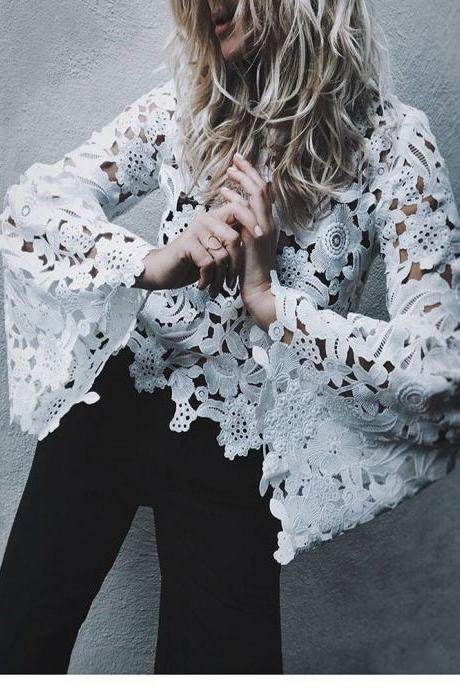 Lace Hollow Out Long Trumpet Sleeves Loose Blouse