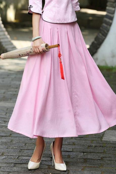 Retro High Waist Tea-length Pleated Long Swing Skirt