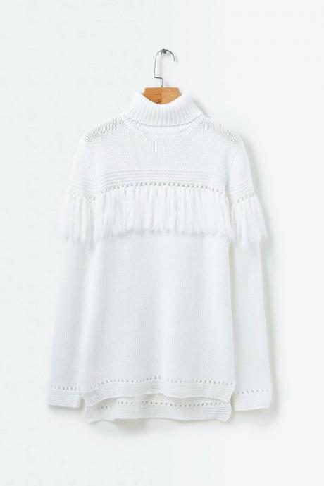 Turtleneck Tessles Hollow Out Split Women Pullover White Long Oversized Sweater