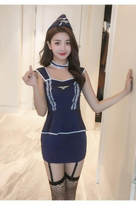 European sexy underwear uniform temptation set sexy stewardess dress