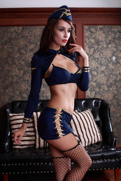 European sexy sexy underwear uniform temptation set sexy stewardess stage costume