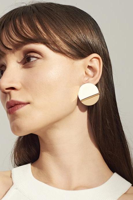 Geometrical Elements Mirror Circular Earrings