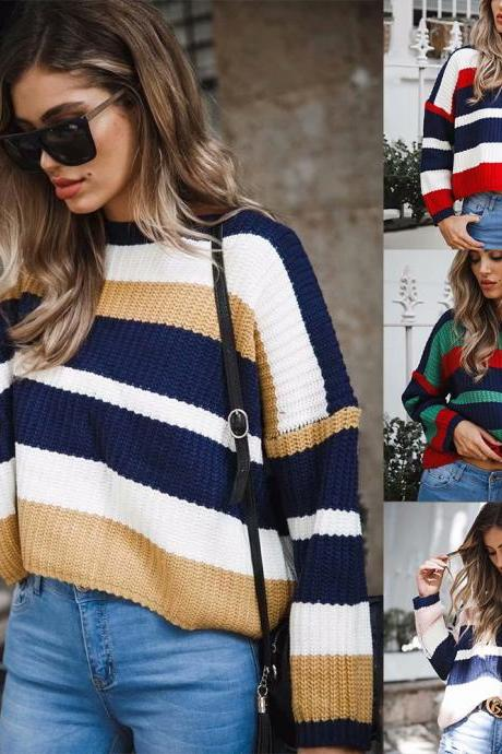 Crew Neck Stripe Loose Long Batwing Sleeves Women Chunky Sweater