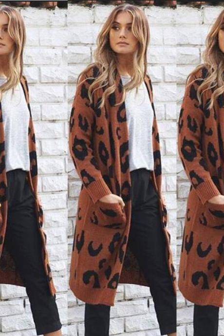Print Loose Pockets Women Oversized Cardigan Sweater