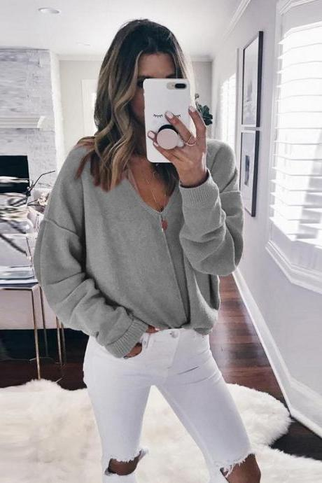 V-neck Loose Long Batwing Sleeves Candy Color Pullover Sweater