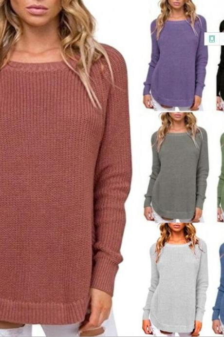 Crew Neck Side Split Loose Oversized Irregular Pullover Sweater