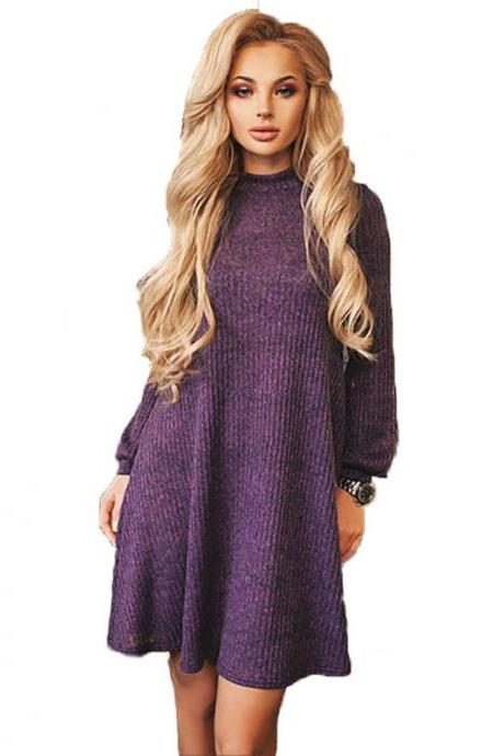 Crew Neck Loose Solid Color Women Pullover Oversized Long Sweater Dress