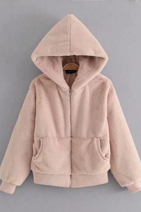 Faux Fur Pockets Solid Color Short Teddy Hooded Coat