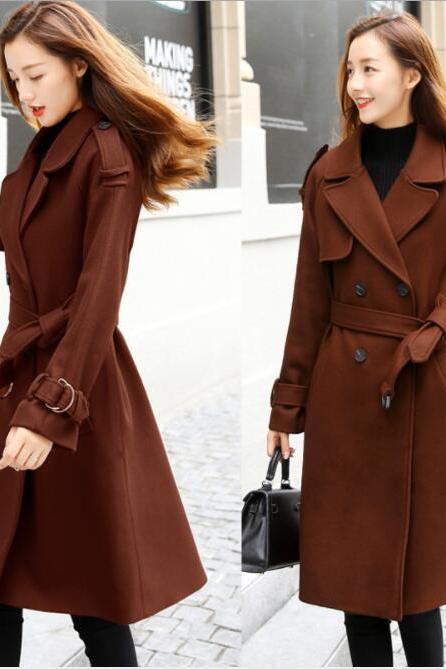 Lapel V-neck Double Breast Women Slim Oversized Trench Coat