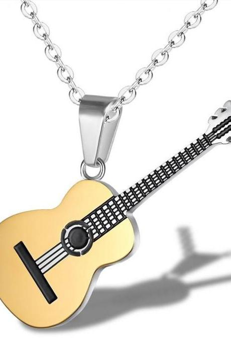 Personality Music Guitar Titanium Steel Necklace