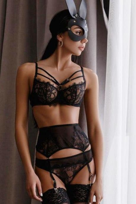 Women Sexy Lace Underwire Bra Sleepwear Bandage Black Seamless Unlined Patchwork Lingerie Garter Adjusted-Strap Underwear
