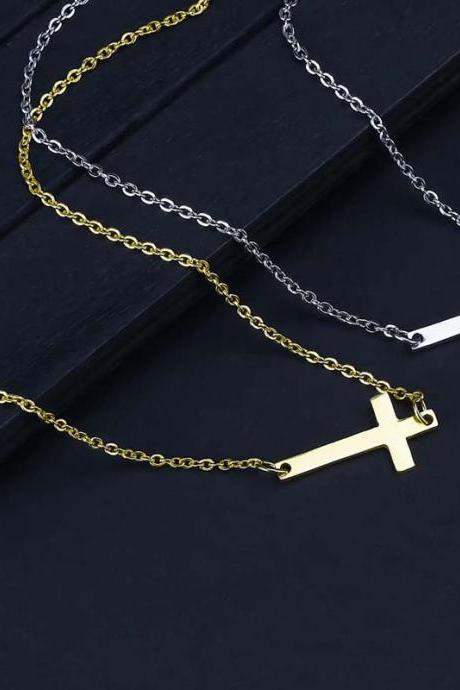 New Fashion Cross Pendant Necklace for Women Men Stainless Steel